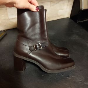 NINE WEST BROWN BUCKLE ANKLE CHUNKY HEEL BOOTS
